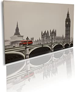 Canvas Art Wall Decor - London - Ready to fix on The Wall - Easy fix with 3m Scotch Removable Mounting (not Included) - Perfect for Wall Corners