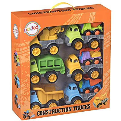 Playkidz Construction Trucks Bulk Pack of [9] Go Cunstruction for Boys & Girls Assorted Vehicles for Home, School, Party, Toddler Birthday & More Recommended Ages 3+: Toys & Games