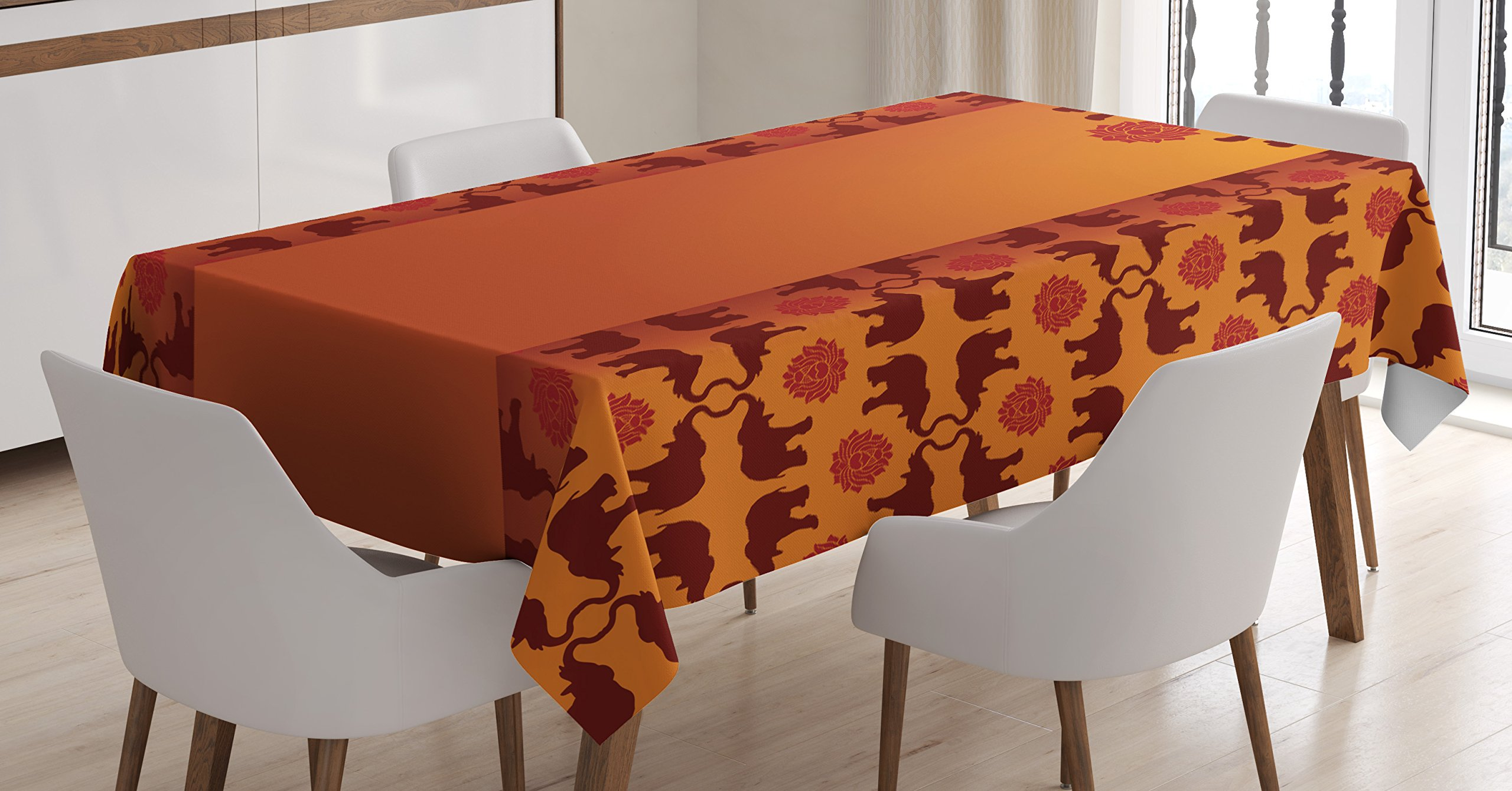 Ambesonne Indian Tablecloth by, African Safari Animal Elephant with T?bal Ethnic Details Ombre Art, Dining Room Kitchen Rectangular Table Cover, 52W X 70L Inches, Orange Dark Orange Burgundy
