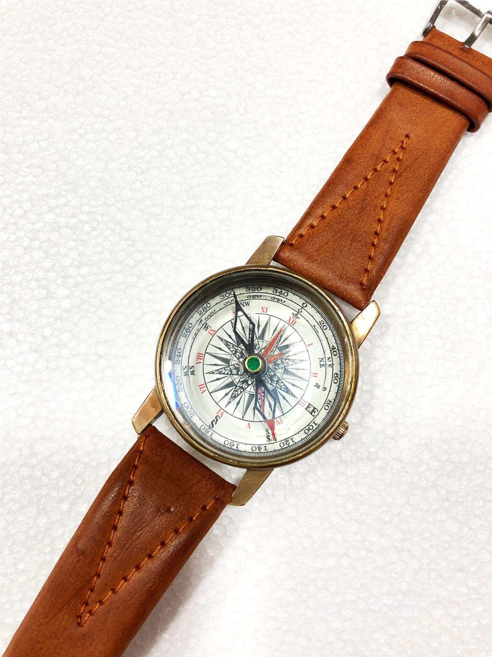 Vintage Nautical Clock Compass 2 in 1 Antique Brass Wrist Watch Leather Strap