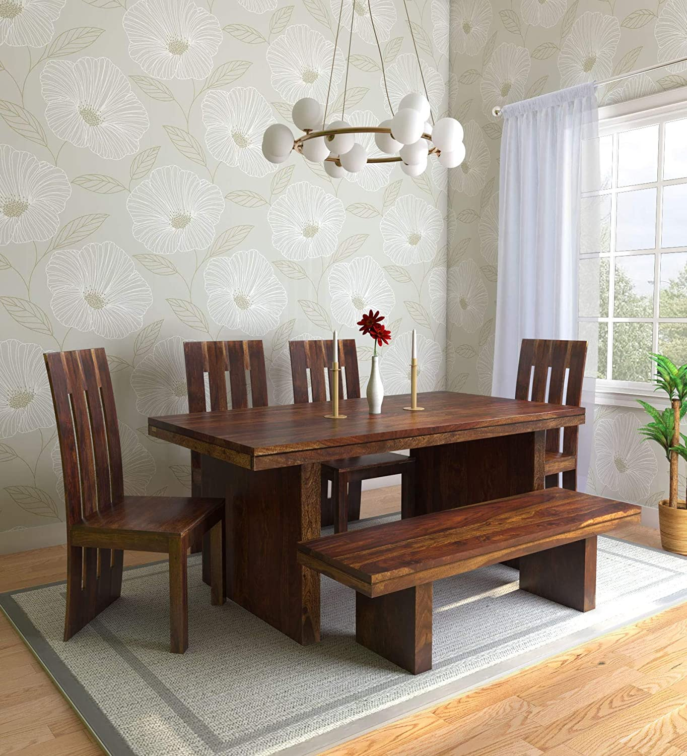 Nisha Furniture Sheesham Wooden Dining Table 6 Seater Dining Table Set With 4 Chairs 1 Bench Home Dining Room Furniture Honey Brown Finish Amazon In Home Kitchen