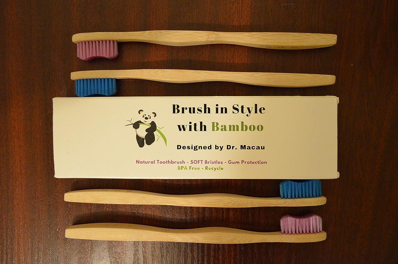 Cepillo de dientes de bambú - diseñado por el Dr. Macau Cirujano Oral - Prevención del sangrado gingival - Efecto de blanqueamiento - Paquete de 4 ...