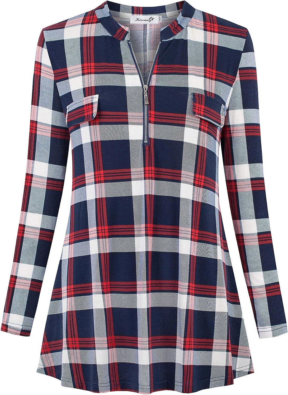 kissmay Plus Size Womens Plaid Shirt Zip V Neck Floral Casual Tunic Blouses Tops