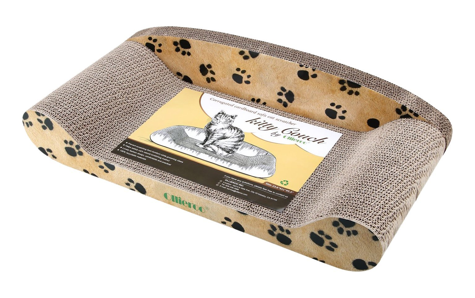 Ollieroo Curve Cat Scratching Pad BASICS Collection Cat Scratcher Lounge Kitt...