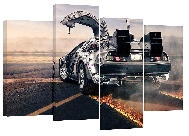 Delorean ZurÜck in Die Zukunft XL Set von 4 neue Leinwand Split Prints 109,2 x 71,1 cm 70 oder 110 cm