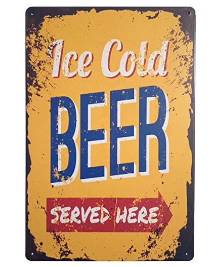 Amazon.com: ERLOOD ICE Cold Beer Served Here Retro Vintage Tin Sign ...