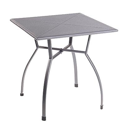 Gartentisch Eckig.Greemotion Gartentisch Toulouse Eckig Quadratischer Tisch Aus Kunststoffummanteltem Stahl Esstisch Mit Niveauregulierung Eisengrau 70 X 70 X 72 Cm