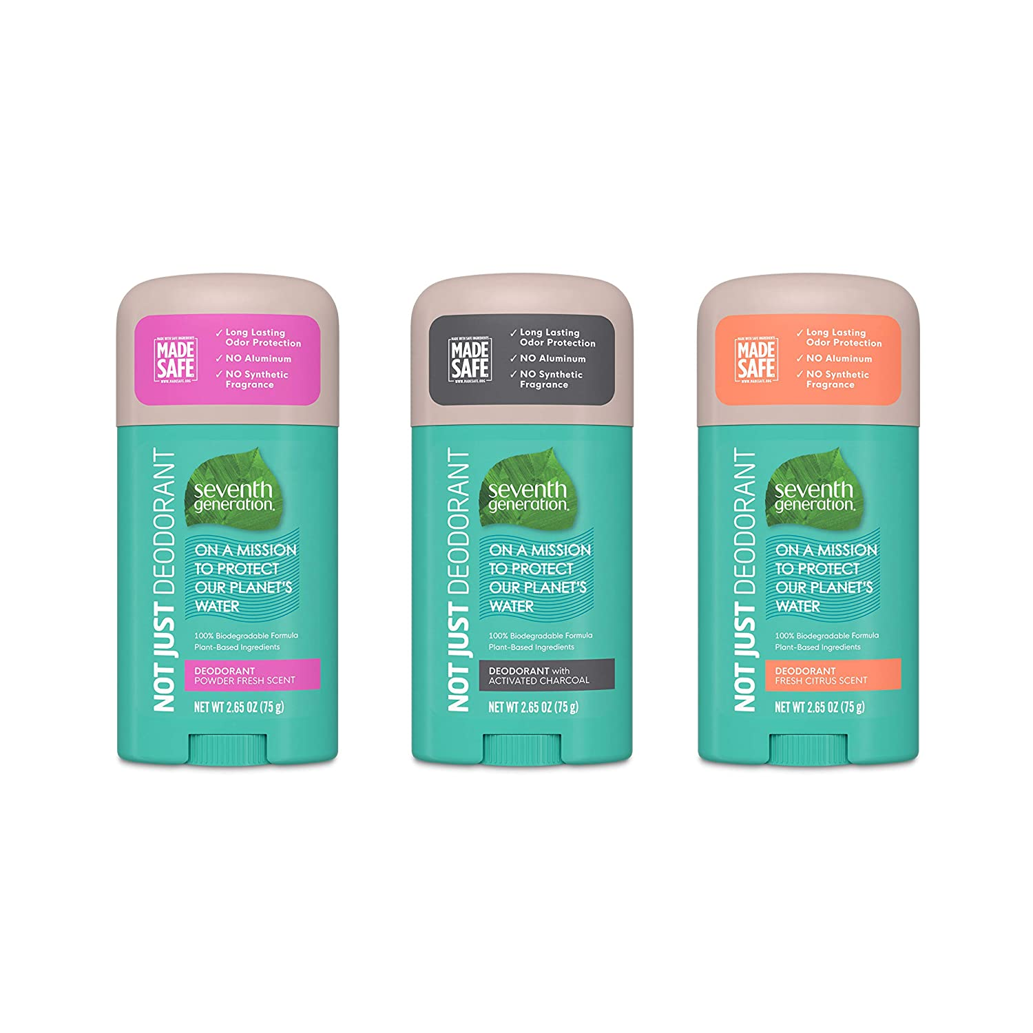 Seventh Generation Aluminum-Free Deodorant Variety Pack Powder Fresh, Activated Charcoal, Fresh Citrus Collection 2.65 oz 3 Count