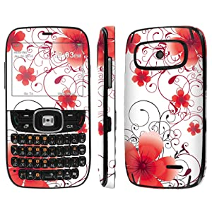[ZTE Altair 2 Z432] Skin [NakedShield] Scratch Guard Vinyl Skin Decal [Full Body Edge] [Matching WallPaper] - [Red Floral] for AT&T GoPhone ZTE Z432 [Altair 2]