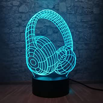 3D Night lamp Novelty Design Headphone Headphone 3D LED USB Colorful Acrylic Lamp Energy Saving Hip Hop Style Child Props Decoration Music Follower Gift