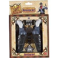 Smiffys Double holster sans ceinture avec 2 pistolets, étoile et 3 balles, enfant 80 cm