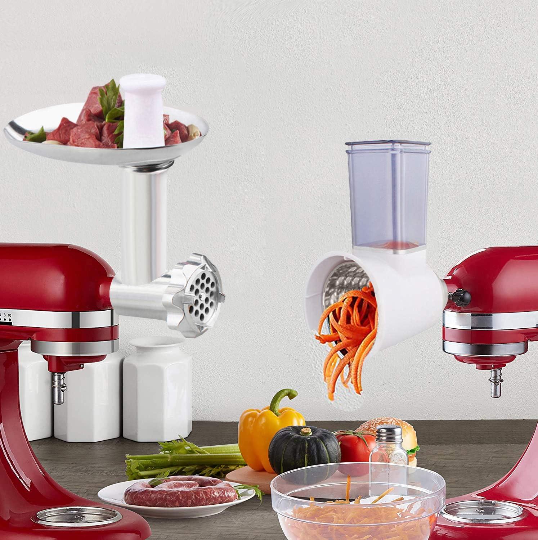 Food Grinder & Slicer Shredder Attachment Pack for KitchenAid Stand mixer, Cheese Grater, Vegetable Slicer, Meat Grinder with Sausage Tubes