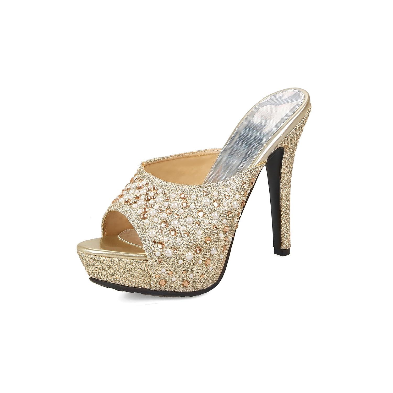 Unbekannt Sandalen von Frauen Fisch Mund Wasserdicht Plattform High Heel Flip Flop Größe Fein mit Golden 33