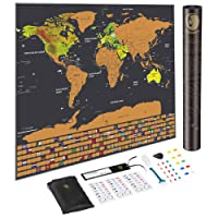 Amazon best sellers best wall maps scratch off map of the world with us states and country flags world map gumiabroncs Image collections