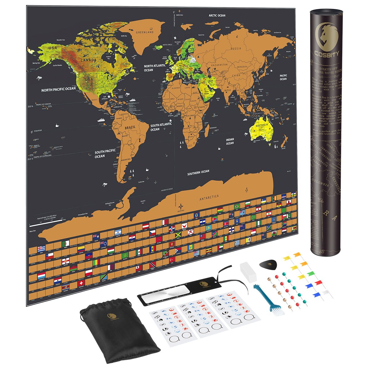 Amazing Travel Tracker Scratch Off World Map Poster 252 Country