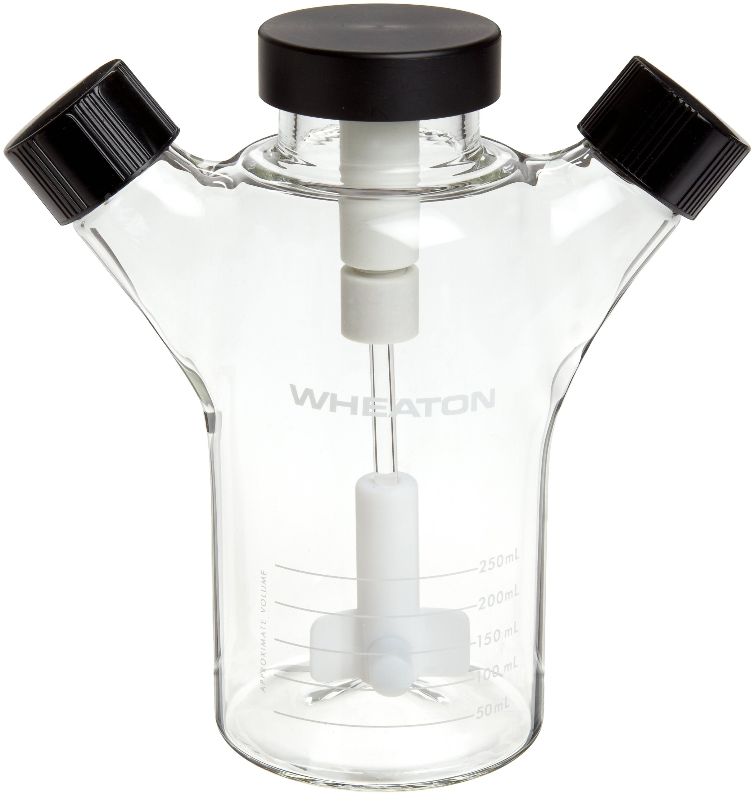 Wheaton 356879 Glass 250mL Celstir Spinner Flask, with 33-430 Screw Caps, 85mm x 175mm