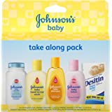 Johnson's Take Along Pack, Baby Bath And Baby Skin Care Products, 5 Items, (Pack of 3)