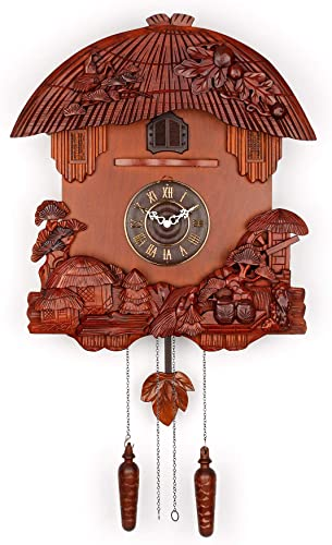 Polaris Clocks German Style Cuckoo Clock with Night Mode and Quartz Movement Brown
