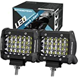 LED Pods, Offroad Town 4'' 144W QUAD Row LED Light Bar OSRAM Work Light Spot Beam Off road Driving Fog lights Waterproof LED Cubes for Truck Jeep Boat