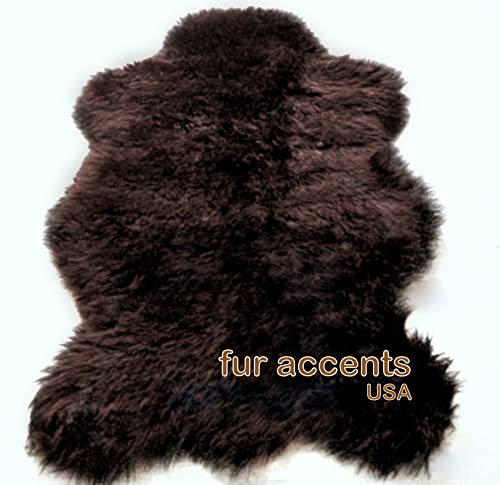 Fur Accents Faux Fur Sheepskin Accent Rug Brown Bear Skin Pelt Rug 3 x5