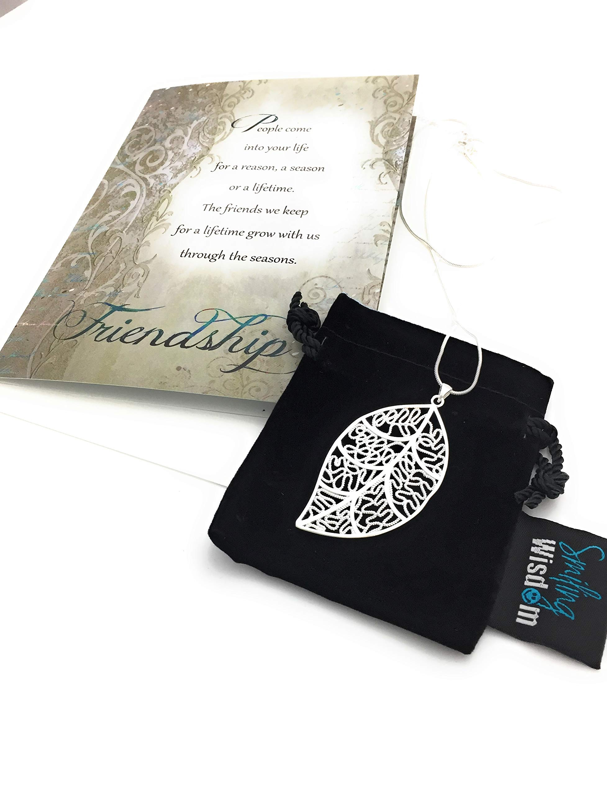 Smiling Wisdom - Silver Leaf Necklace Gift Set - Reason Season Lifetime Special Heartfelt Friendship Message - Velvet Touch Greeting Card - Jewelry Set for Woman BFF Best Friend - .925 Silver Plated by Smiling Wisdom