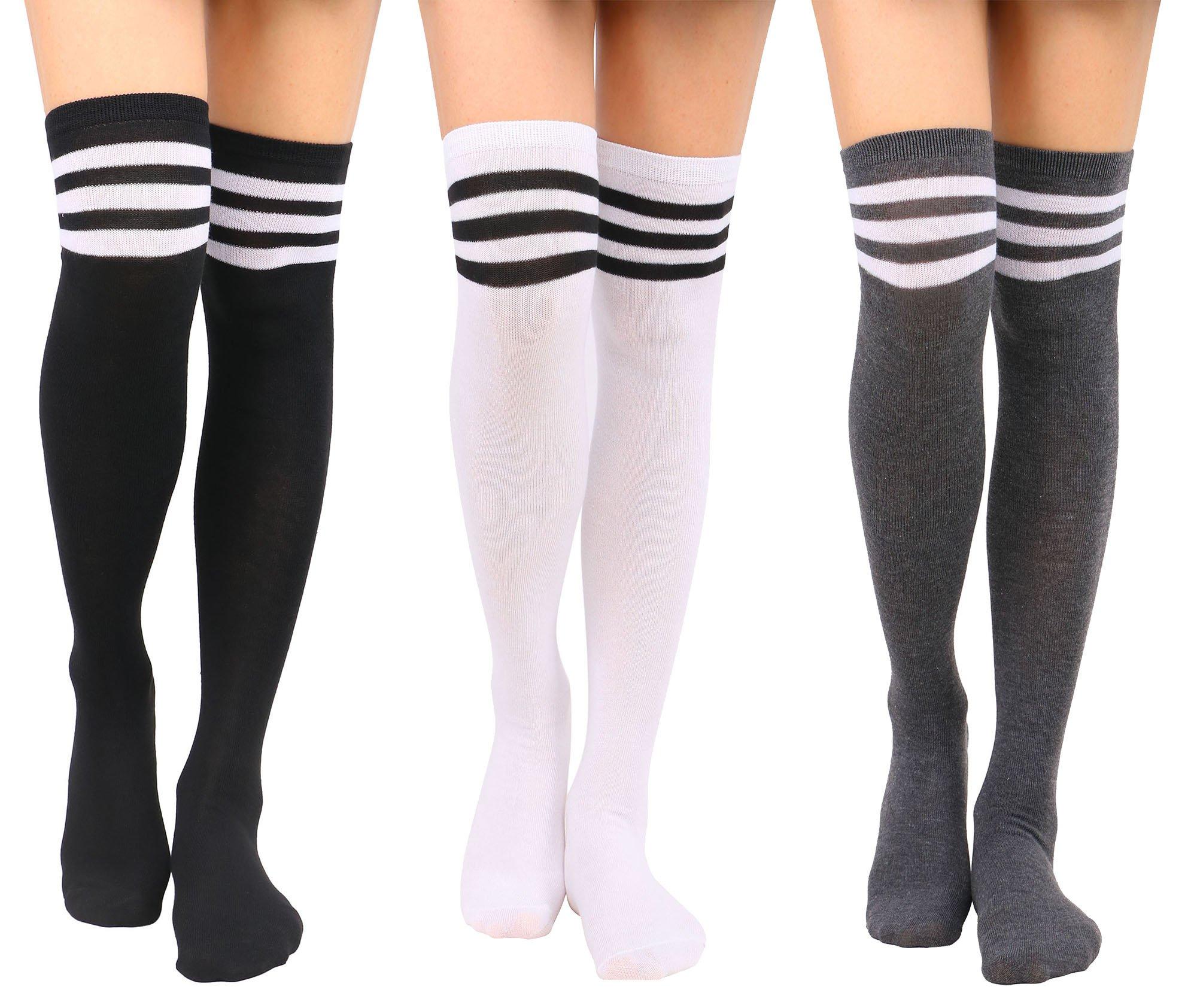 Tube Socks Women's Retro Striped Trim Long Knee High Socks,BK WH/WH BK/GY WH