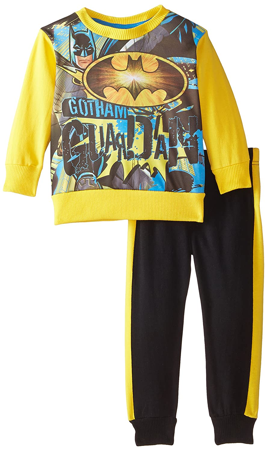 Warner Brothers Boys' Batman Boys French Terry Sublimated Fleece Set Yellow 2T