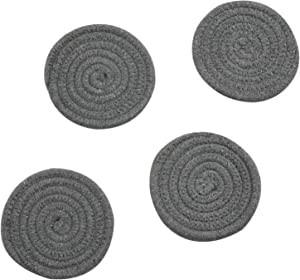 Coasters Set, Pure Cotton Thread Weave Round Drink Hot Pads Mats Coasters Set of 4 by 4.3 Inches Protect Furniture From Excess Condensation & Scratch (Dark Grey)