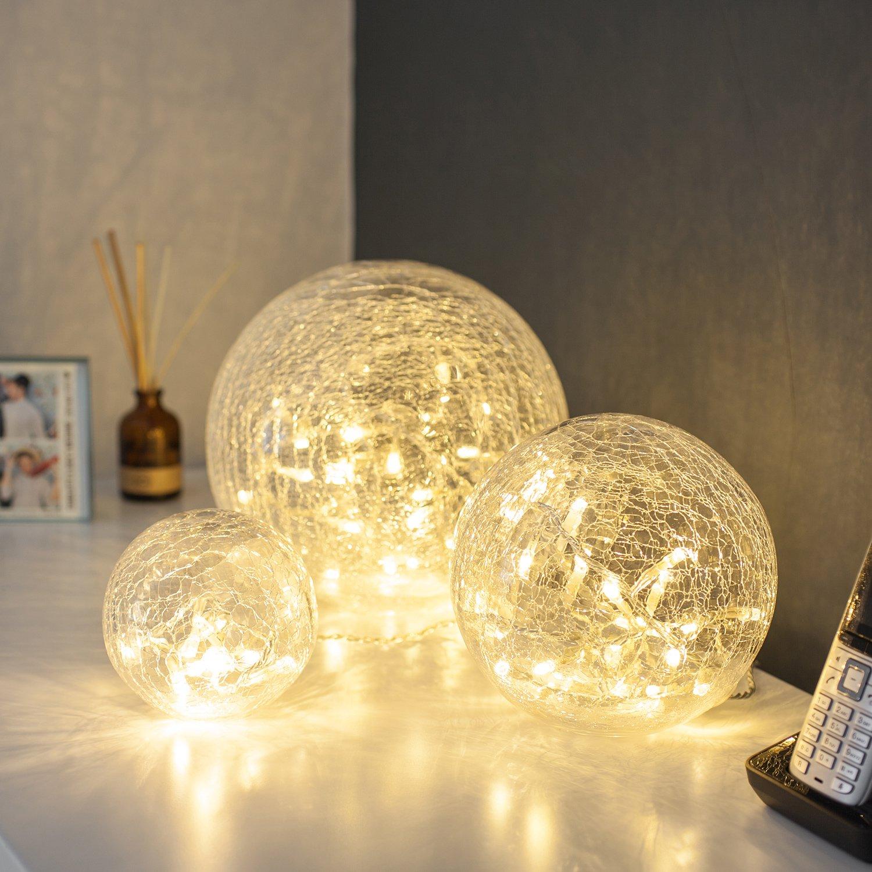 3er Set LED Glaskugeln mit Lichterkette warmweiß Innen Lights4fun