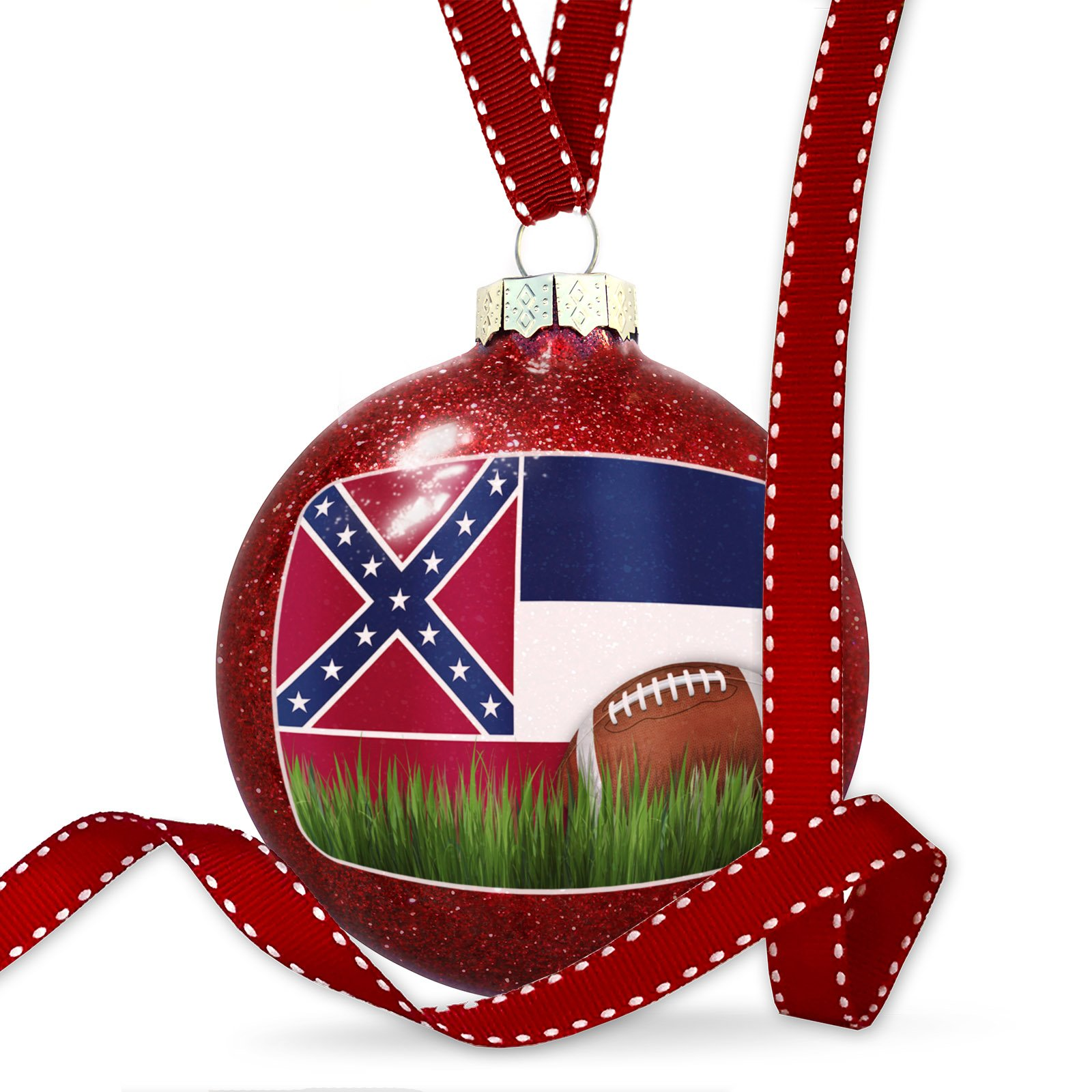 Christmas Decoration Football with Flag Mississippi region America (USA) Ornament