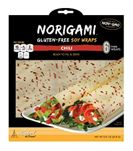 Norigami Egg Wraps Soy Protein - High Protein,Low Carb,Vegetarian Thin Healthy Wrap for Sandwiches - Ready To Fill And Serve - Certified Kosher,Non GMO,Gluten Free - 6 Wraps Soy Wrap Chili (1 Pack)