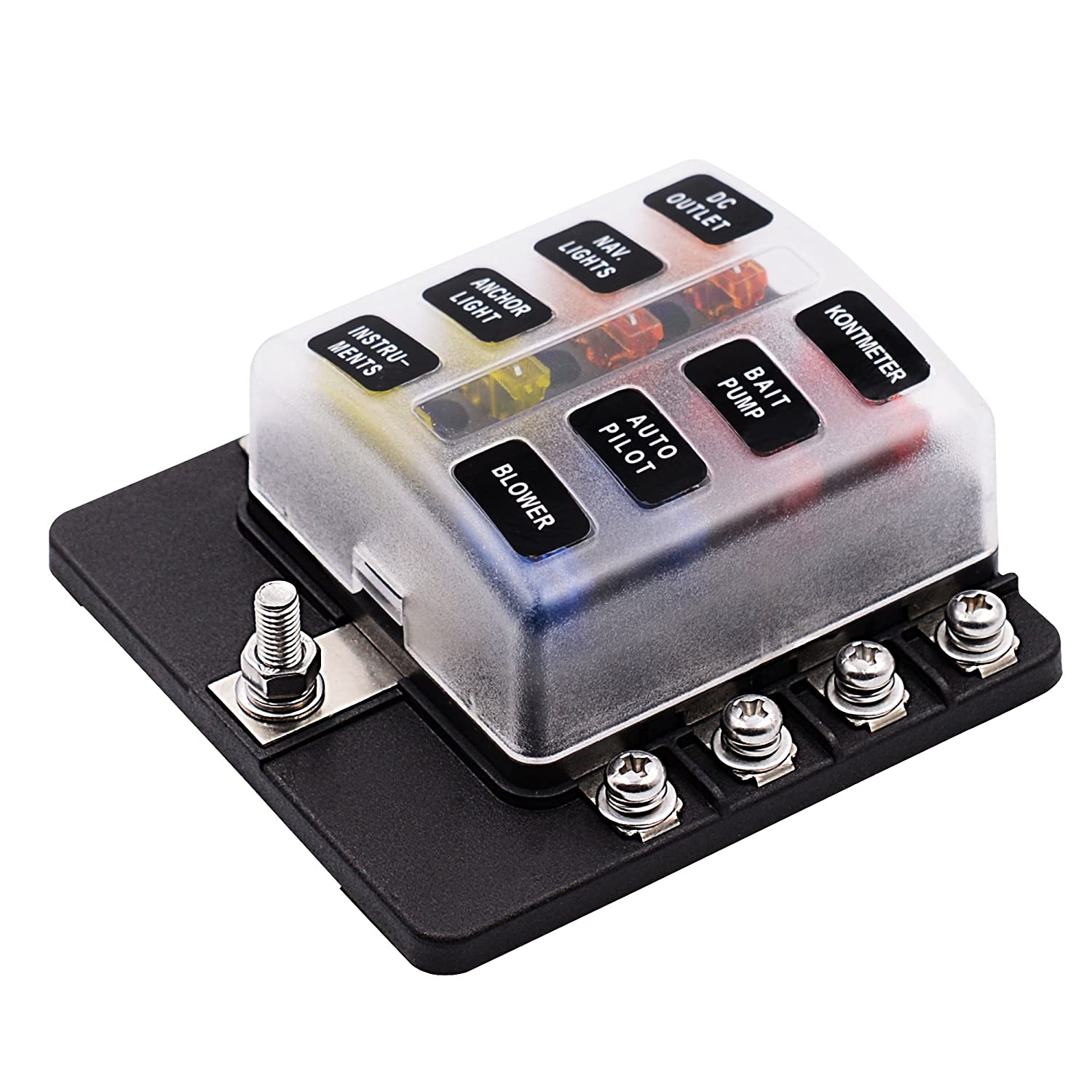 Topten Blade Fuse Box Waterproof Automotive Block With Camper Protection Cover And Led Indicator For Car Boat Marine Rv