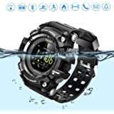 Sports Watch smart Bluetooth Watch IP67 waterproof Remote Camera Fitness Tracker Wearable Technology Running watch for IOS & Android Smartphones iPhone X 8 Samsung Galaxy s9+for Men & Boys-Black