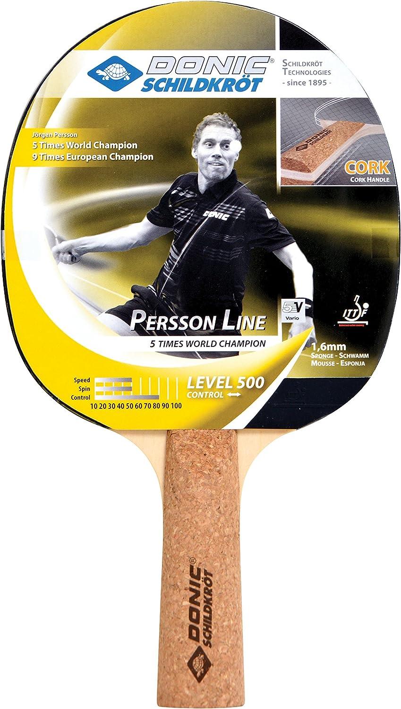 Donic-Schildkröt Raqueta de Tenis de Mesa Persson 500, Mango de Corcho, Esponja de 1,6 mm, Almohadilla Elite-ITTF, 728451