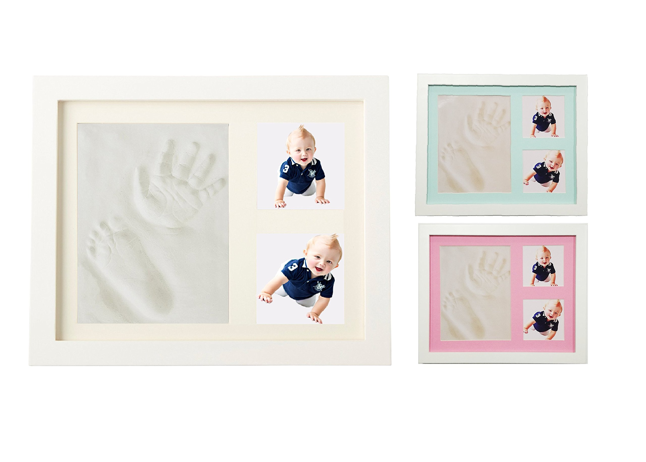Baby Handprint and footprint kit with non-toxic clay and 2 colors card paper