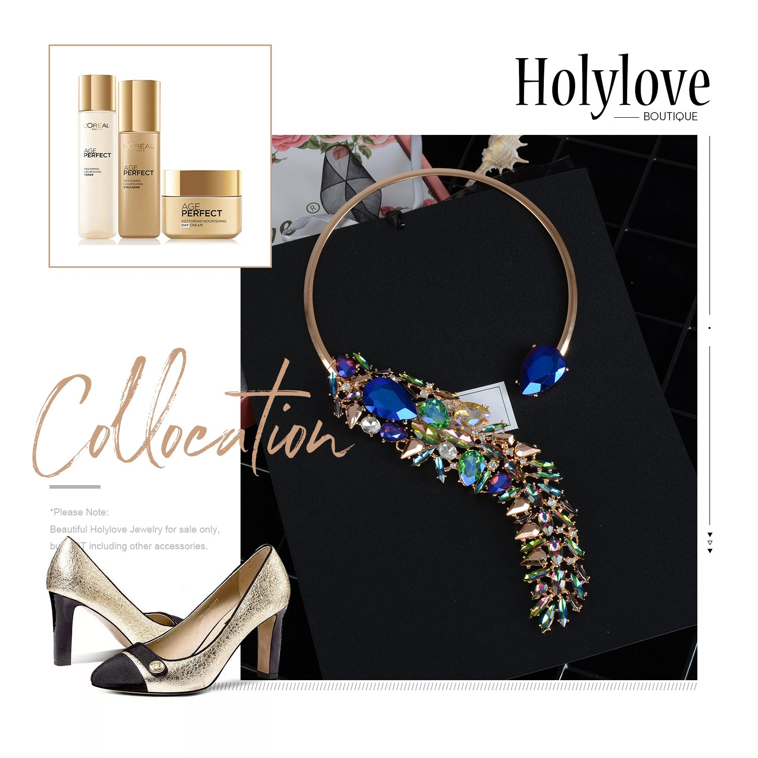 Holylove Women Costume Necklace Colorful, Statement Necklace for Women Novelty Fashion Jewelry 1 pc with Gift Box- HLN0008 Colorful by Holylove (Image #3)