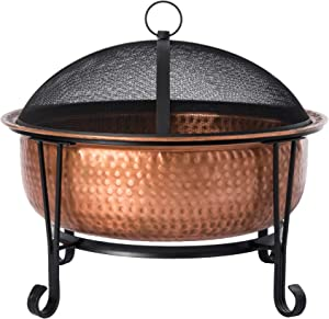 Fire Sense Palermo Copper Fire Pit with Steel Stand | Wood Burning | Mesh Spark Screen, Steel Grate, Screen Lift Tool, and Vinyl Weather Cover Included | Lightweight Portable Patio and Outdoor Heater