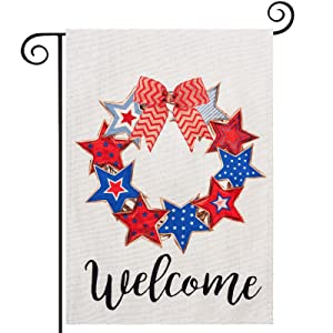 4th of July Welcome Garden Flag, hogardeck Premium Burlap Patriotic Stars Wreath and Red Ribbon Yard Flag, Vertical Double Sided Independence Day Memorial Day Outdoor Indoor Decorations, 12.5 x 18 inch