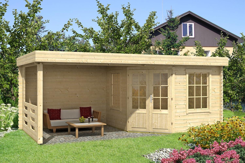 Carlsson Gartenhaus KATE-40 aus Holz mit Flachdach - Blockhaus für ...