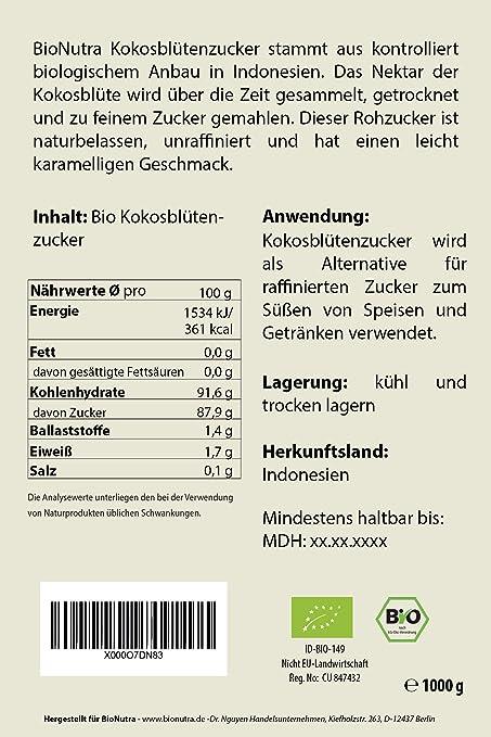 ffe28ada09548a BioNutra Kokosblütenzucker Bio 2x1000 g braun
