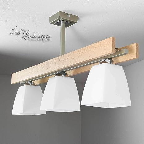 Elegante Lámpara de techo en Haya Blanco Bauhaus Diseño 3x ...