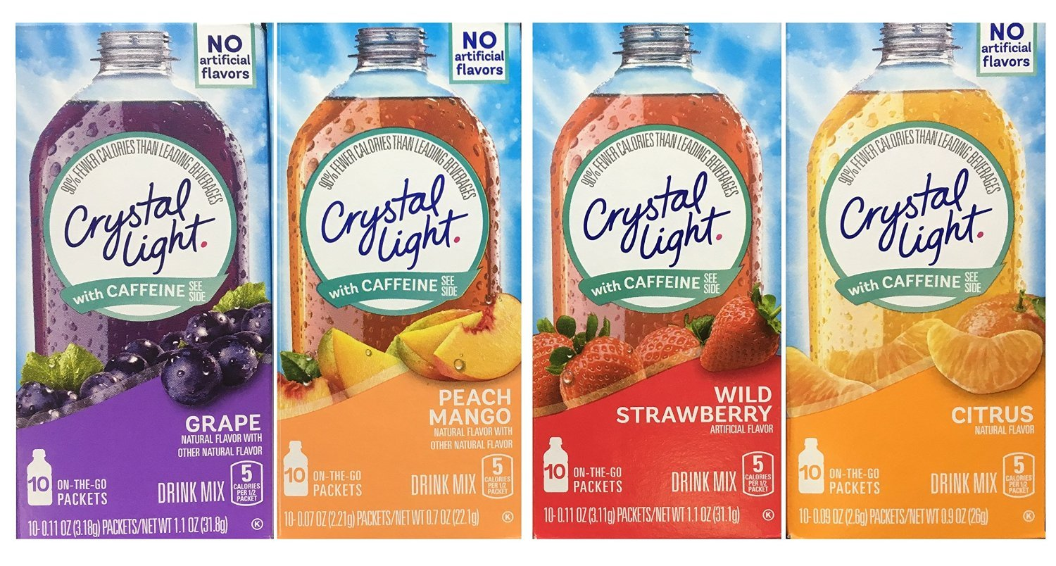 Crystal Light With Caffeine Variety Pack (40 Total Packets) Gluten Free - New 2016 Packaging