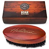 Beard Brush - Perfect For Beard Balms and Oils - Natural, Soft Boar Hair - For Help Softening And Conditioning Itchy Beards - Packaged in Cardboard Gift Box