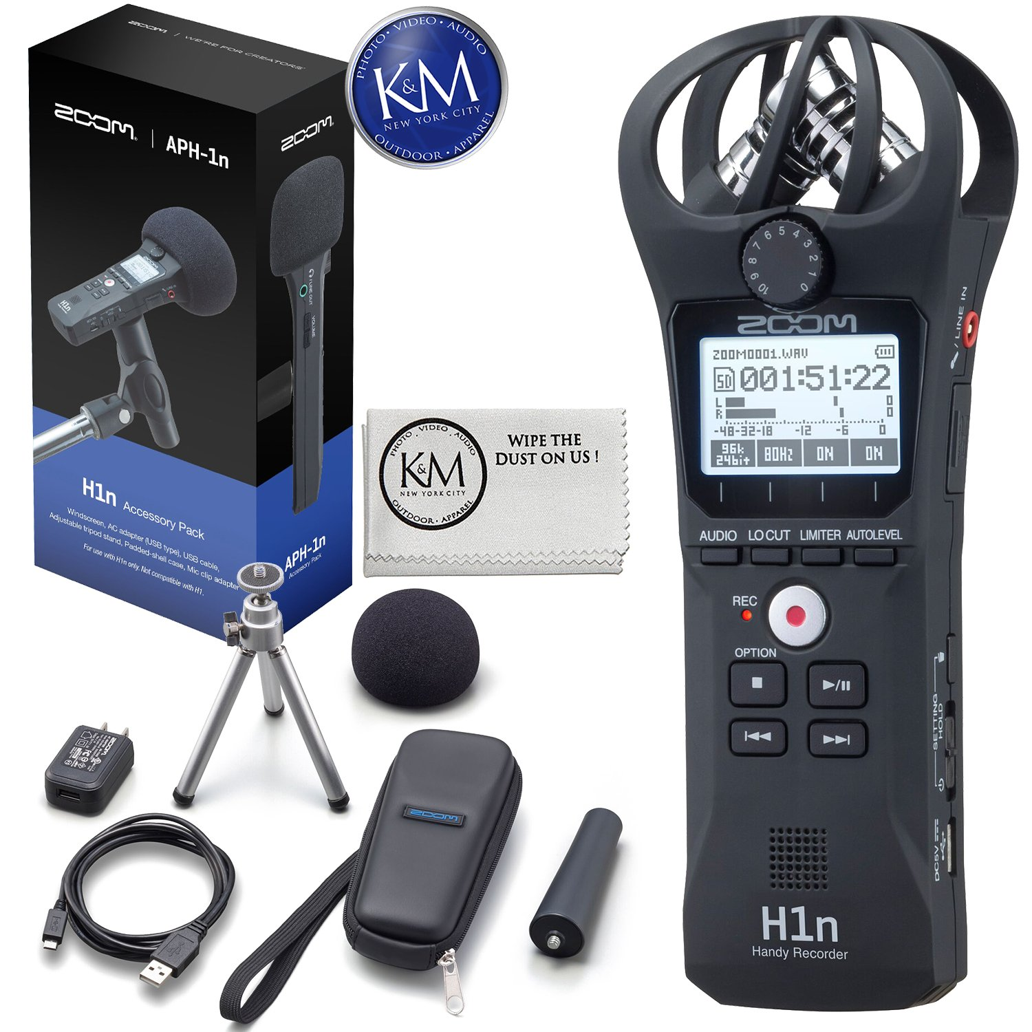 APH-4nPro Accessory Pack Headphones 32GB SD Card Zoom H4n Pro Digital Recorder K/&M Micro Cloth