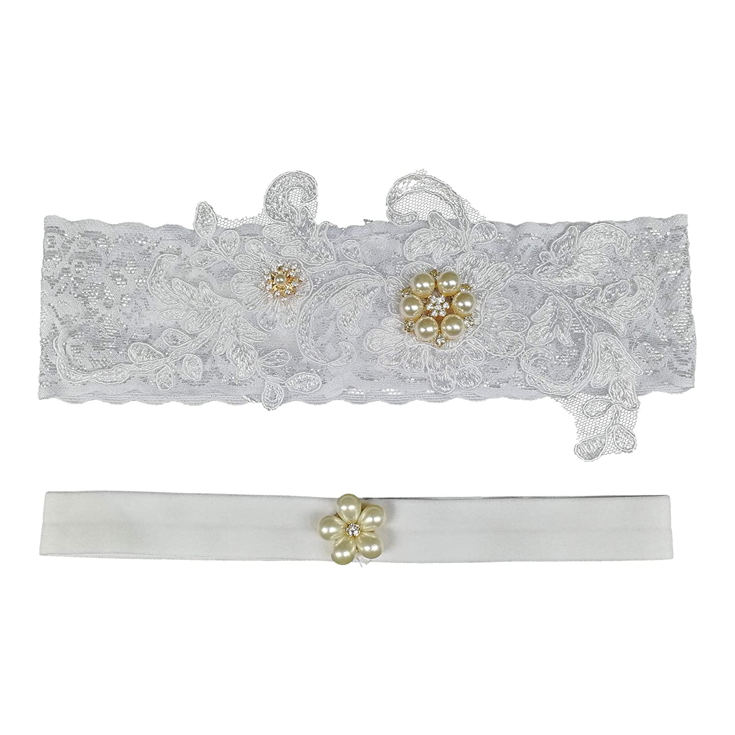 TVRtyle Women White Lace Wedding Garter and Toss Garter for Bride Pack of 2pcs WG021