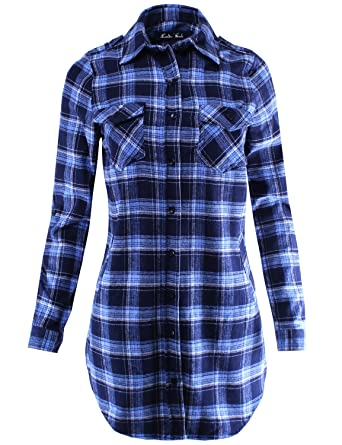 6e999df7e92 Ladies  Code Women s Flannel Plaid Shirt Dress with Roll Up Sleeve at  Amazon Women s Clothing store