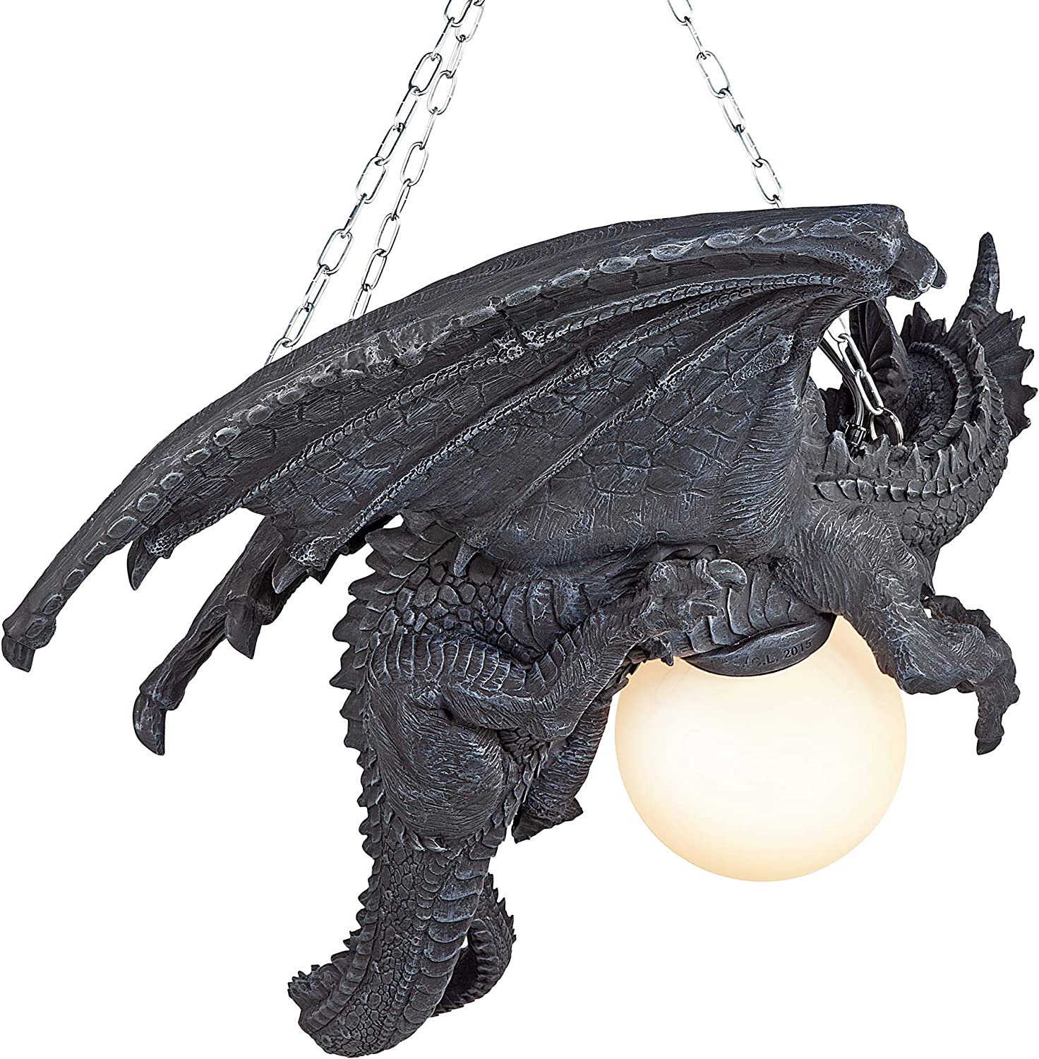 Greystone CL1868 21 Inch Polyresin with Glass Globe Design Toscano Nights Fury Dragon Gothic Decor Hanging Light Fixture