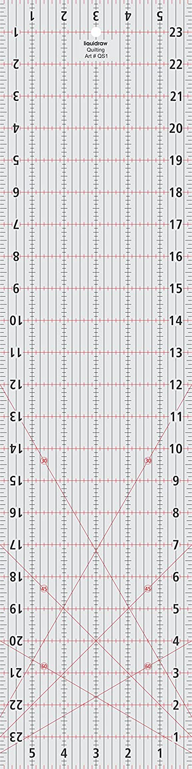 Liquidraw Patchwork Quilting Ruler 6 x 24 inches, Acrylic Imperial Template Transparent