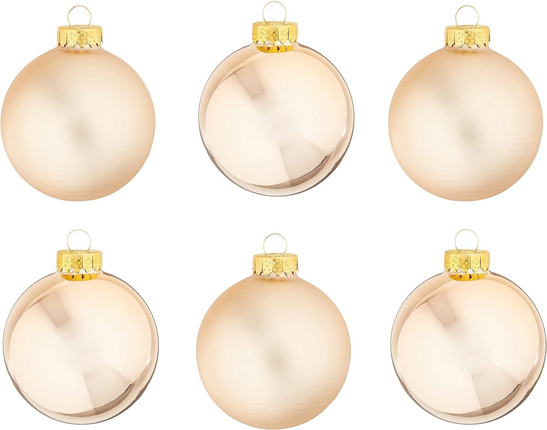 Amazon Com Kurt Adler Kurt Ader 65mm Two Tone Rose Gold Glass Ball Ornament Set Of 6 6 Piece Home Kitchen