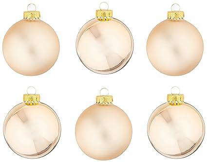 Amazon Com Kurt Adler Kurt Ader Rose Gold Glass Ball Ornaments 65mm